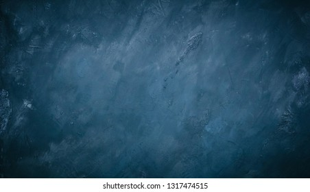 Abstract Grunge Decorative Blue Wall Background. Rough Dark Texture Web Banner With Copy Space For design. Wide Angle vintage background with vignette