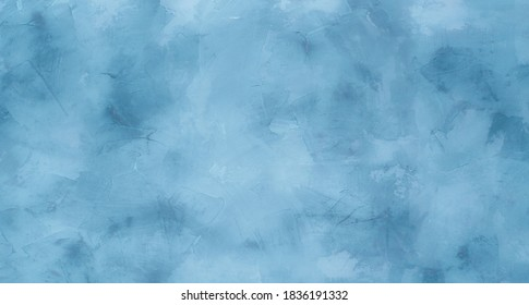 Abstract Grunge light blue stucco Background. Decorative artistic Wall room Close up. Rough Surface plaster Texture With Copy Space for design.