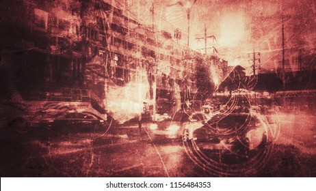abstract grungey image with multi exposure effect, concept of danger in transportation, grunge abstract background for illustrate or text copy space