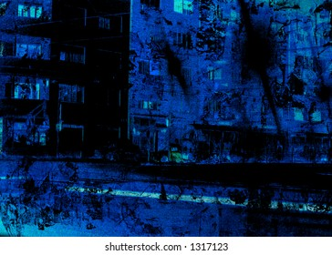 Abstract grungy background - city at night