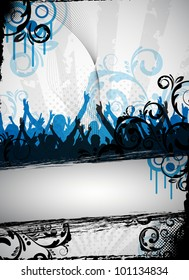 an abstract and grungy party background for design