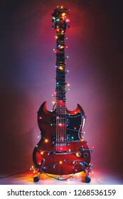 abstract guitar with Christmas lights