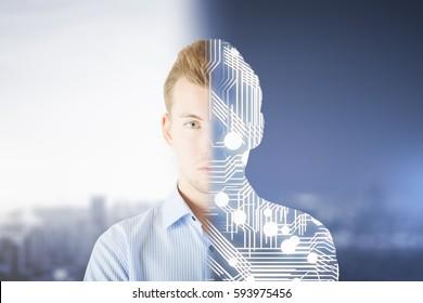 Abstract half man half robot creature on blurry city background. Modern robotics concept