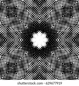 Abstract halftone psychedelic kaleidoscopic seamless pattern.