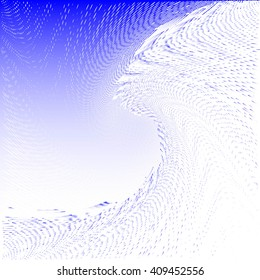 Abstract Halftone Wave Background. Blue Dots Pattern. Raster Illustration