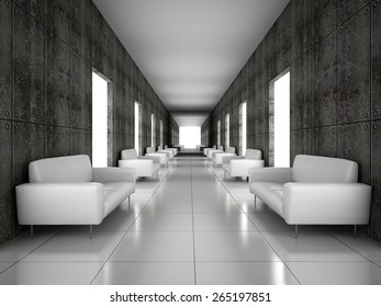 Abstract hall with a concrete wall 3D rendering