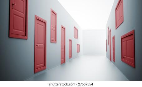 Abstract hallway with many doors & Strange Doors Images Stock Photos \u0026 Vectors | Shutterstock