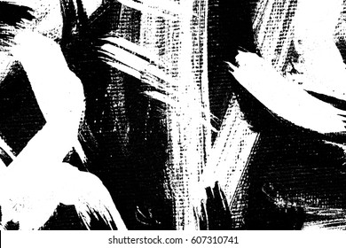 Abstract hand drawn brush stroke paint background / Art painting on canvas black and white / Distress texture