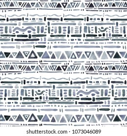 Abstract Hand drawn Ethnic pattern. Watercolor Seamless textile background