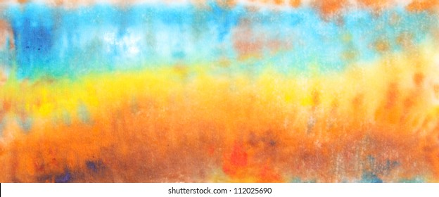Abstract hand drawn watercolor background: fall landscape with blue sky and greenery. Great for textures, vintage design, and luxurious wallpaper