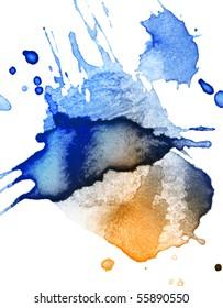 abstract hand drawn watercolor blot