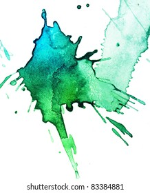 abstract hand drawn watercolor blot, raster illustration