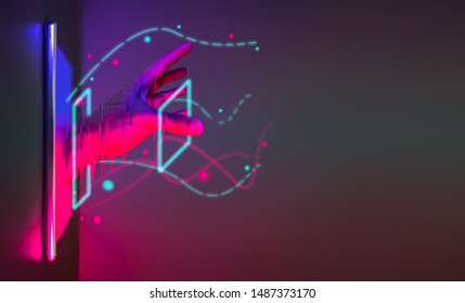 Abstract hand get off from smartphone technology with neon graphic line. Futuristic cyberpunk colour network concept with copy space.