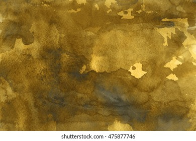 Abstract hand made watercolor background with ink texture and gold foil effect.