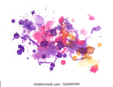Abstract hand made watercolor splashes