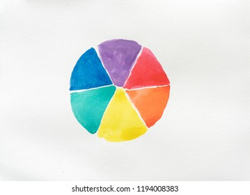Abstract hand paint watercolor blots texture isolated on white background. ,Vector Green yellow blue Orange and red watercolor splash background.