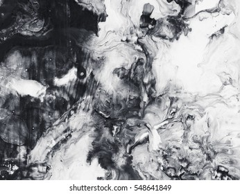 Abstract hand painted black and white background, acrylic painting on canvas, wallpaper, texture