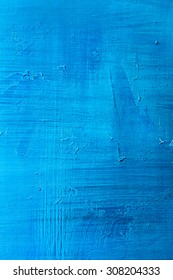 abstract hand painted blue paint canvas background