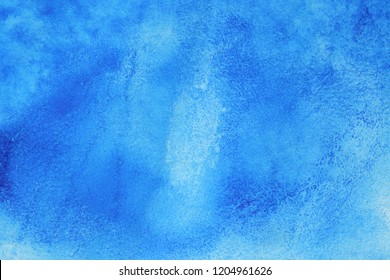 Abstract hand painted blue watercolor splash on white paper background, Creative Design Templates