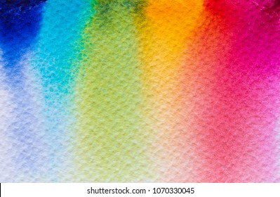 Abstract Hand painted Rainbow Watercolor Colorful wet background on paper. Handmade texture art color for creative wallpaper or design art work. Pastel colors
