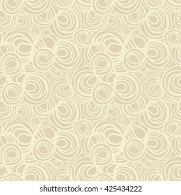Abstract hand-drawn seamless pattern with spiral curls. Elegant background. Casual beige colors.