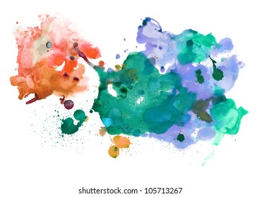 Abstract handmade watercolor stains