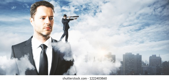 Abstract handsome businessman looking into the distance on city background. Research and vision concept