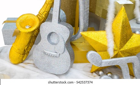 Abstract of happy, fun & celebration, Music background, Guitar & saxophone