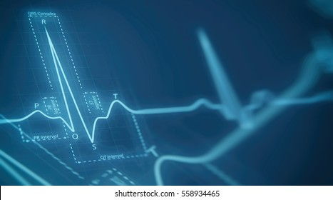 Abstract heart beats cardiogram illustration. Medical background