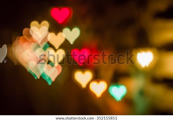 Abstract heart bokeh backround of happy new year or christmas light