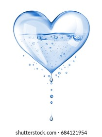 Abstract heart made of water isolated on white background