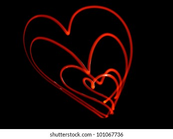 abstract  heart, obtained with a freezelight photographic style