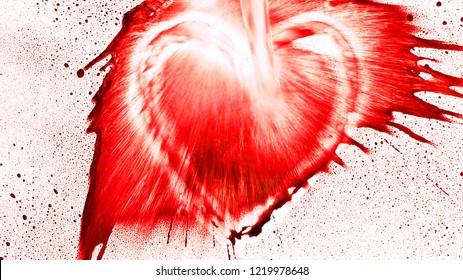 Abstract heart shape from splaches and blobs and drops aspect ratio 16:9