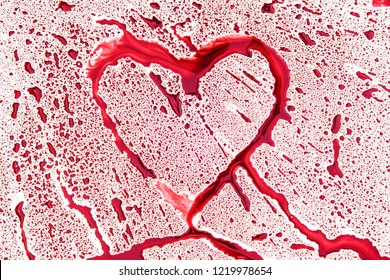 Abstract heart shape from splaches and blobs and drops