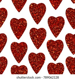 Abstract hearts seamless pattern. Print of dark red heart shaped. Happy Valentines Day 14th february poster. Can be used for wallpaper, pattern fills, surface textures. Isolated objects on white.