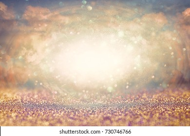 Abstract heavenly background with glitter. Revelation concept.