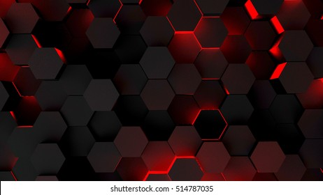 Abstract hexagon futuristic background with red lighting. 3d rendering