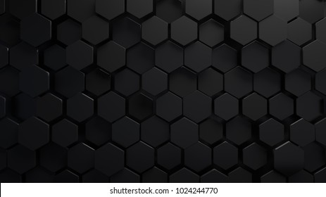 Abstract hexagonal background. Futuristic technology concept. 3d render illustration. Hex geometry pattern. Carbon cells. Polygonal dark surface. Polished mosaic