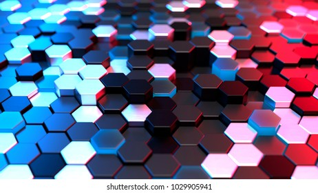 Abstract hexagonal background with neon light, 3d illustration