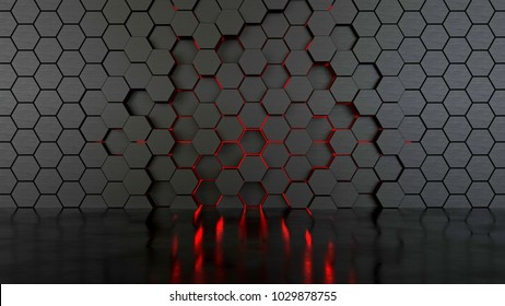 Abstract hexagonal wall, 3d illustration