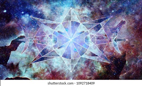 Abstract hipster geometric background with triangles, circles, nebula, stars and galaxy. Elements of this image furnished by NASA.