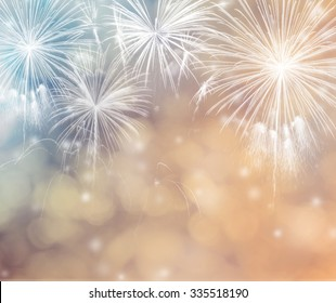Abstract holiday background with fireworks.