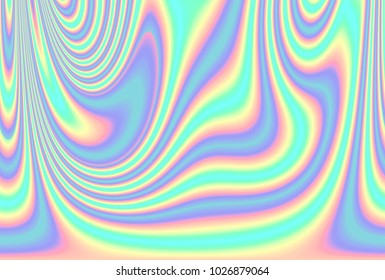Abstract holographic background in 80s - 90s, trendy colorful texture in pastel / neon color design.