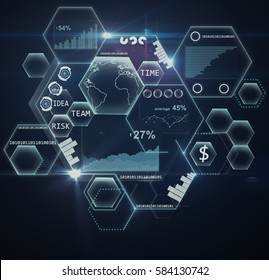 Abstract honeycombs with digital business charts and graphs on dark background. Dark background. Technology concept