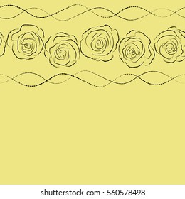 Abstract horizontal seamless background with flying black and yellow roses silhouette. Seamless pattern with copy space (place for your text).