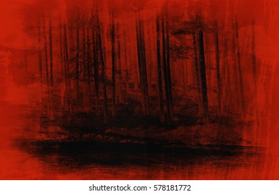 abstract horror red fores art background, vintage textured style, night evil woods