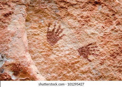 Abstract human art at Pha Taem prehistoric cliff painting which date back three thousands to four thousands years before history, Ubolratchathani,Thailand.