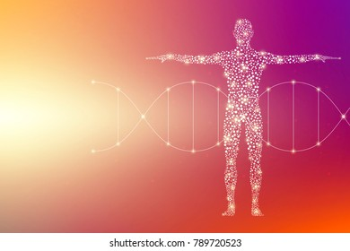 Abstract human body with molecules DNA. Medicine, science and technology concept. Illustration