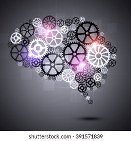 abstract human brain shape gears technology background