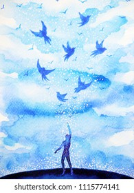 abstract human flying birds spiritual mind in blue cloud sky illustration watercolor painting design hand drawn